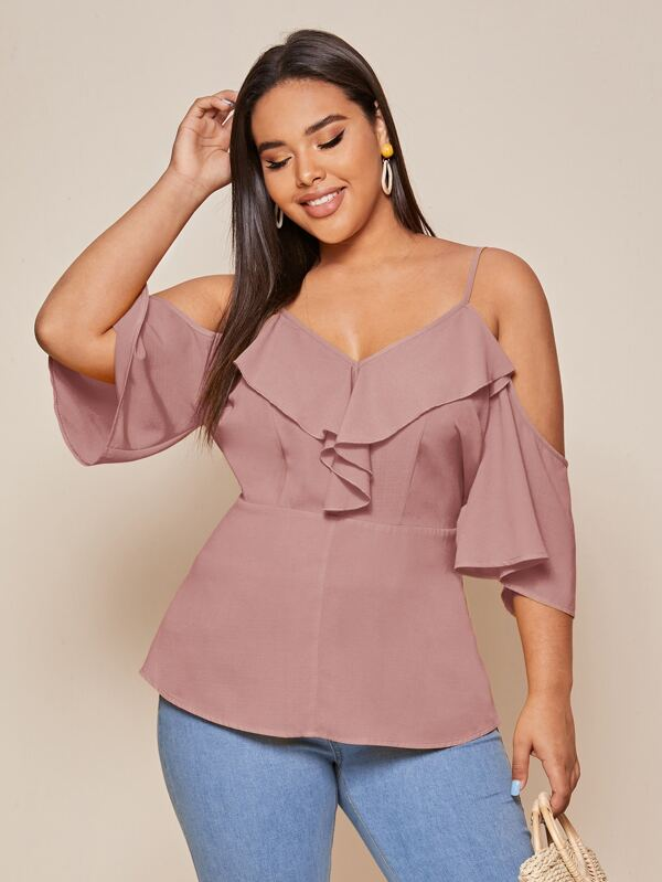 Plus Size Ruffle Trim Cold Shoulder Solid Peplum Top