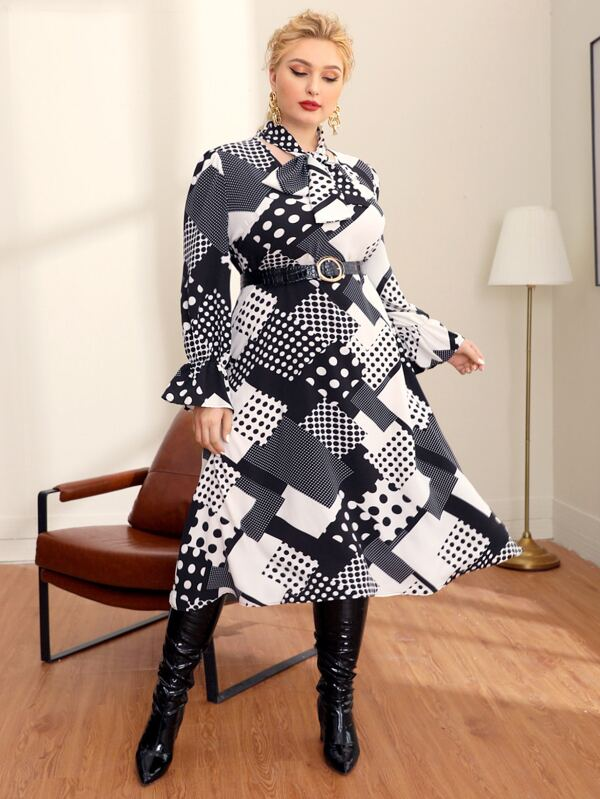 Plus Size Tie Neck Flounce Sleeve Polka Dot Patchwork Dress