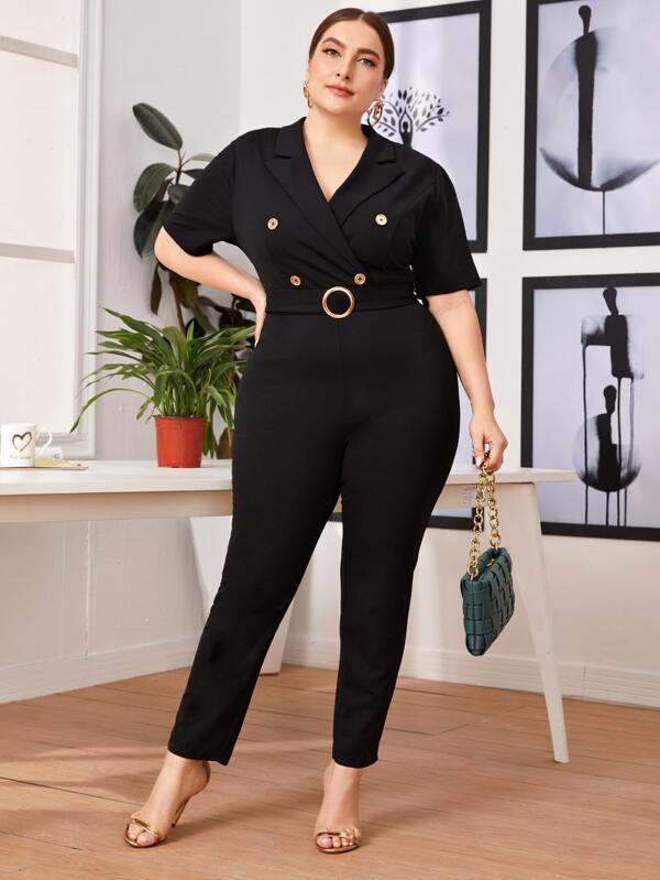 Plus Size Notched Collar Buttoned Front O-ring Belted Jumpsuit