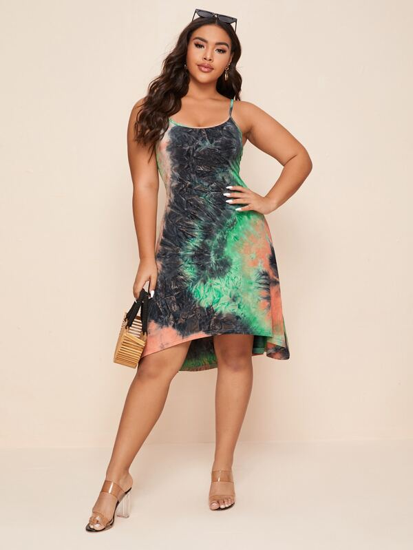Plus Size Tie Dye Cami Dress