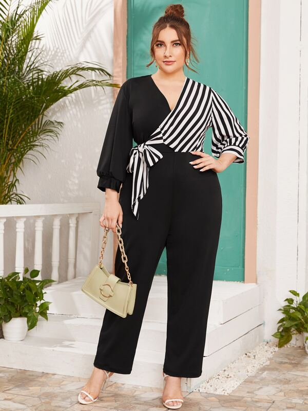 Plus Size Striped Panel Knot Side Jumpsuit
