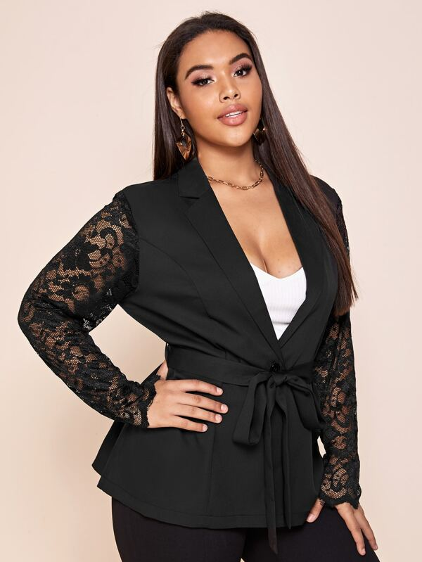 Plus Size Lace Sleeve Belted Blazer