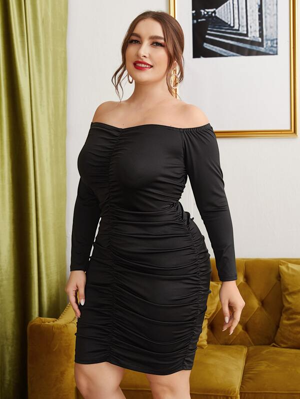 Plus Size Off Shoulder Ruched Bodycon Dress