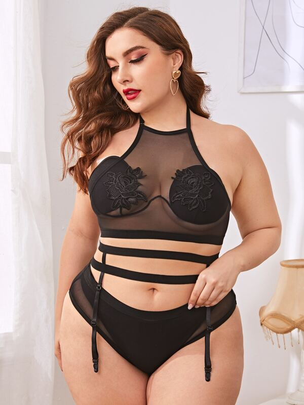 Plus Size Appliques Embroidered Mesh Garter Lingerie Set