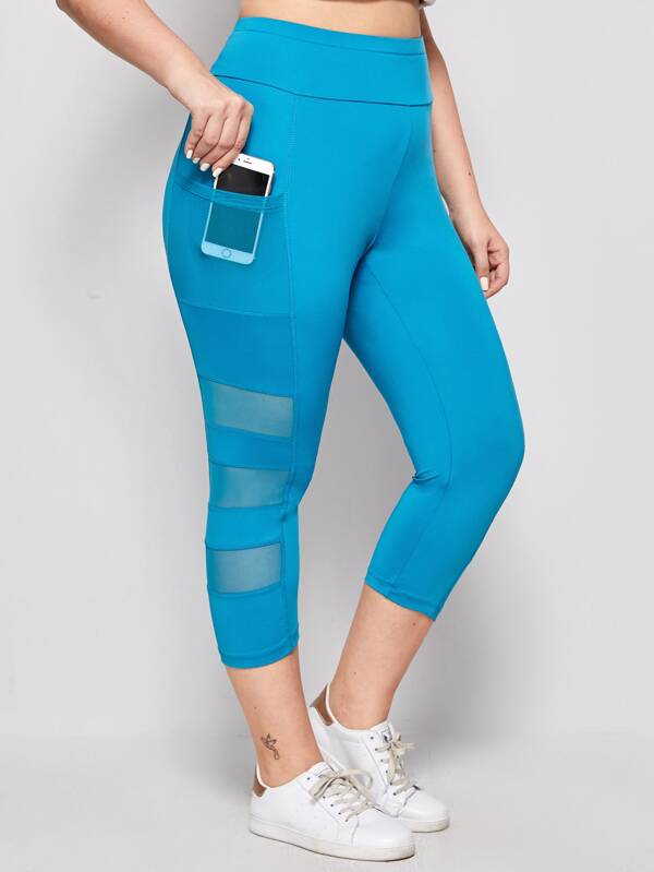 Plus Size Wide Waistband Mesh Insert Leggings