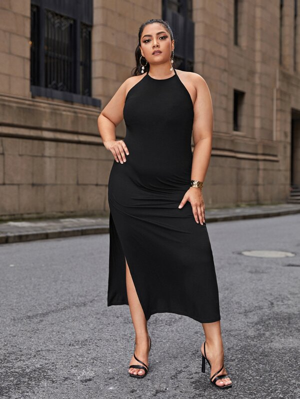 Plus Size Tie Back Split Hem Halter Dress