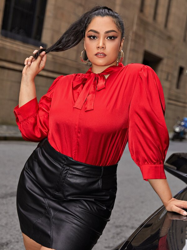 Plus Size Tie Neck Satin Top