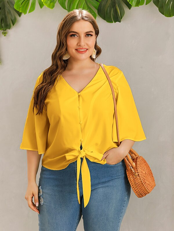 Plus Size V-neck Tie Hem Button Front Blouse