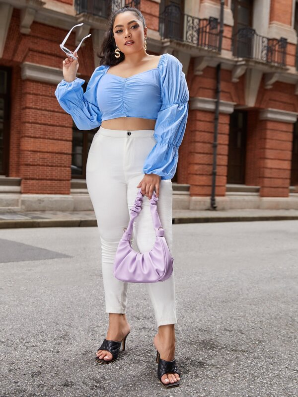 Plus Size Gathered Sleeve Ruched Detail Crop Top