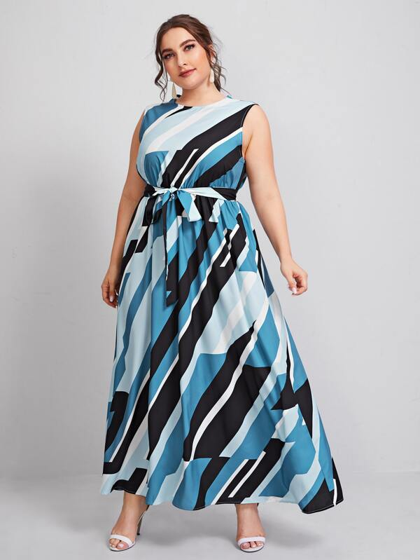 Plus Size Colorblock Geo Belted Maxi Dress