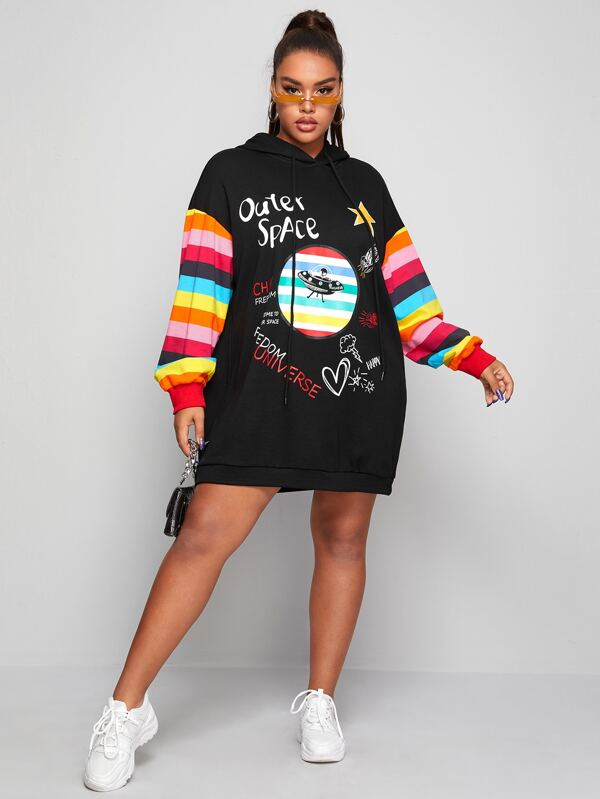 Plus Size Drawstring Detail Striped Sleeve Graphic Sweatshirt Dress