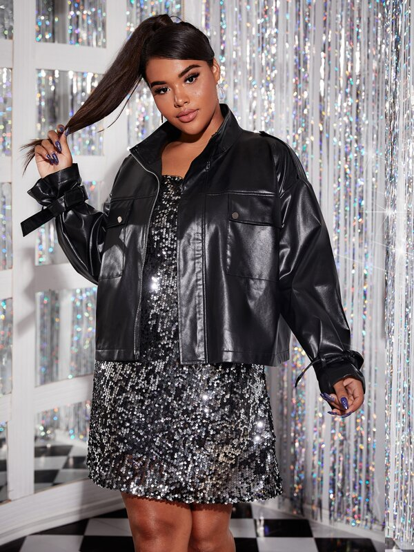 Plus Size Zip Front Drop Shoulder Leather Look Jacket