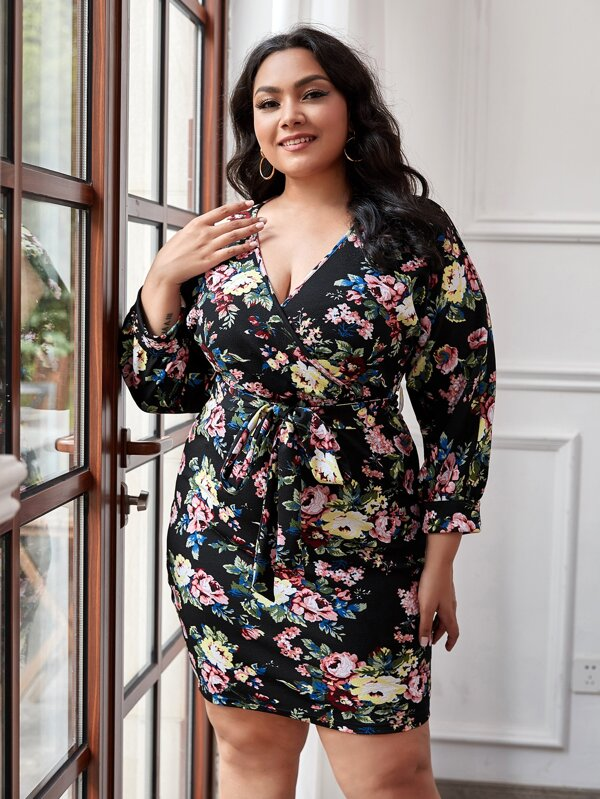 Plus Size Surplice Neck Belted Floral Dress