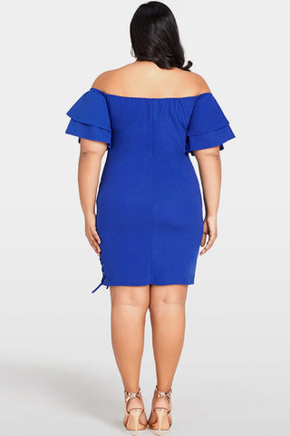 Plus Size Solid Off the Shoulder Bodycon Dress