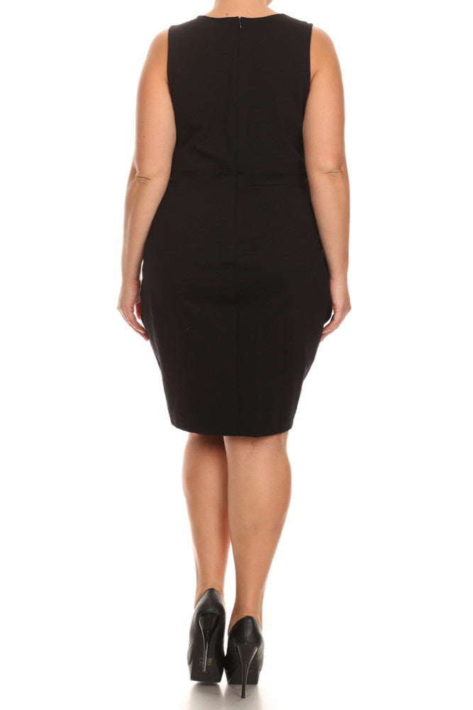 Plus Size Plunging Jagged Hemline Dress