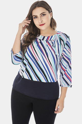 Plus Size Multi Color Stripes Side Bow Neckline Chiffon Top