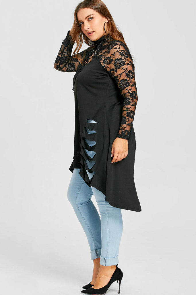 Plus Size See Through Lace Sleeves Lace Up Top