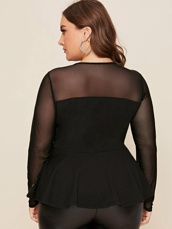 Plus Size Mesh Shoulder Sequin Peplum Top