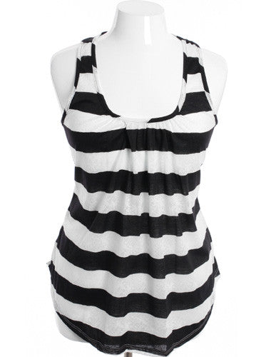 Plus Size Ruffled Stripe Black Tank