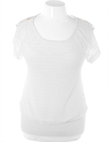 Plus Size Designer Layered See Through White Top