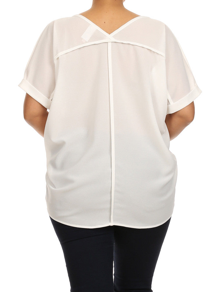Plus Size First Impression Chiffon White Blouse