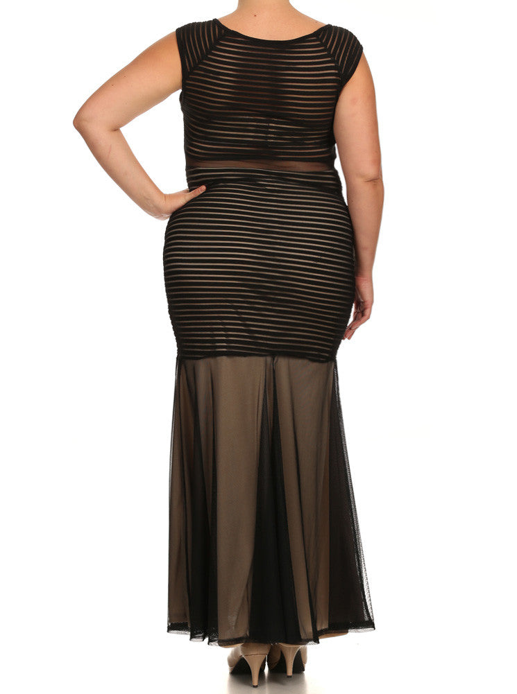 Plus Size Mesh Striped Fishtail Maxi Dress
