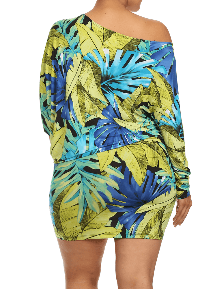 Plus Size Off The Shoulder Tropical Leaf Print Teal Dress