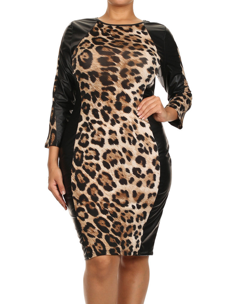 Plus Size On The Wild Side Tan Leopard Leather Dress