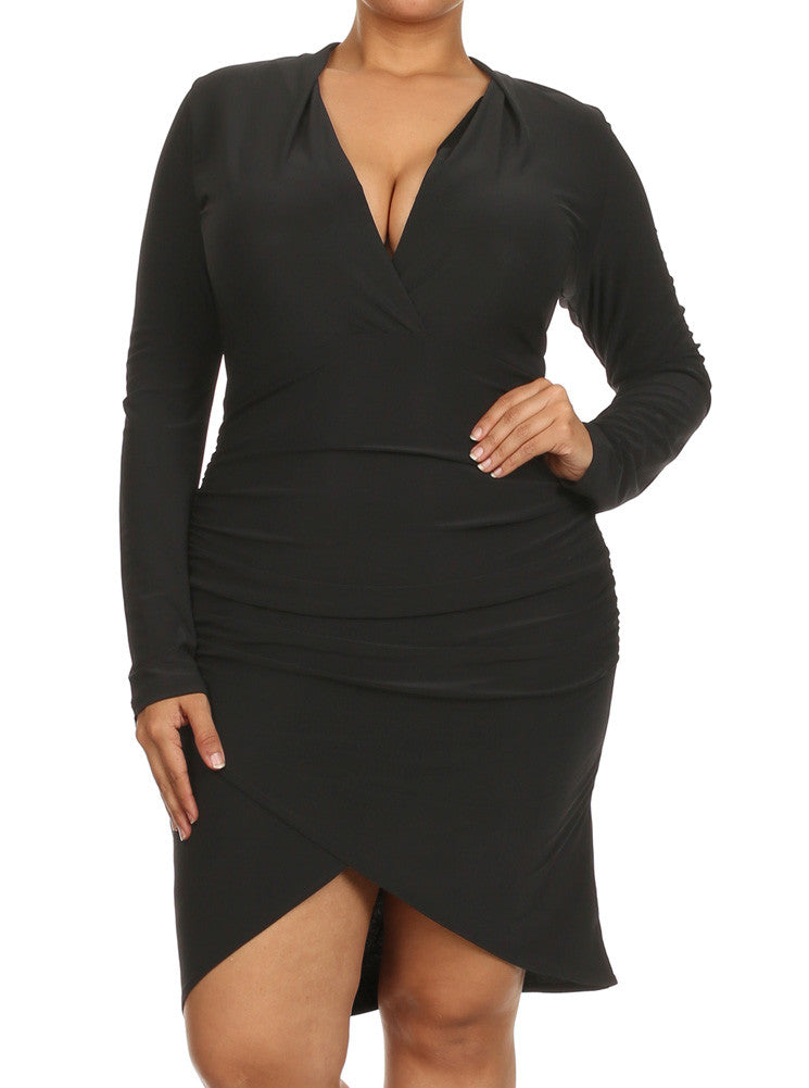 Plus Size Eternal Love Ruched Black Dress