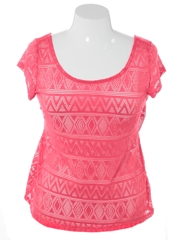 Plus Size Overlay Aztec Pink Top