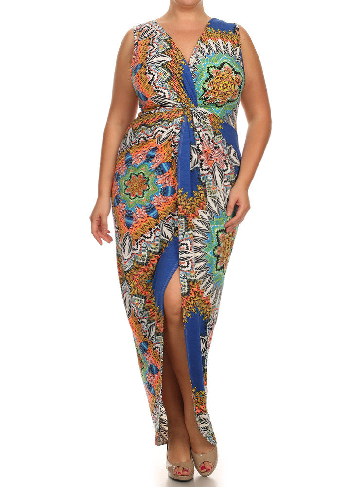 Plus Size kaleidoscope Print Knot Maxi Dress