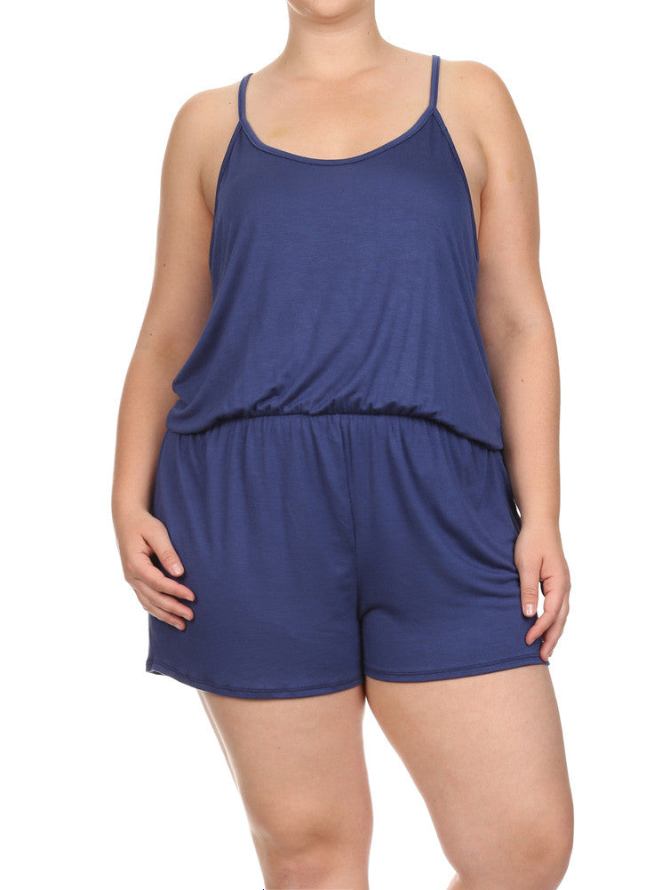 Plus Size Loving Spring Days Blue Romper