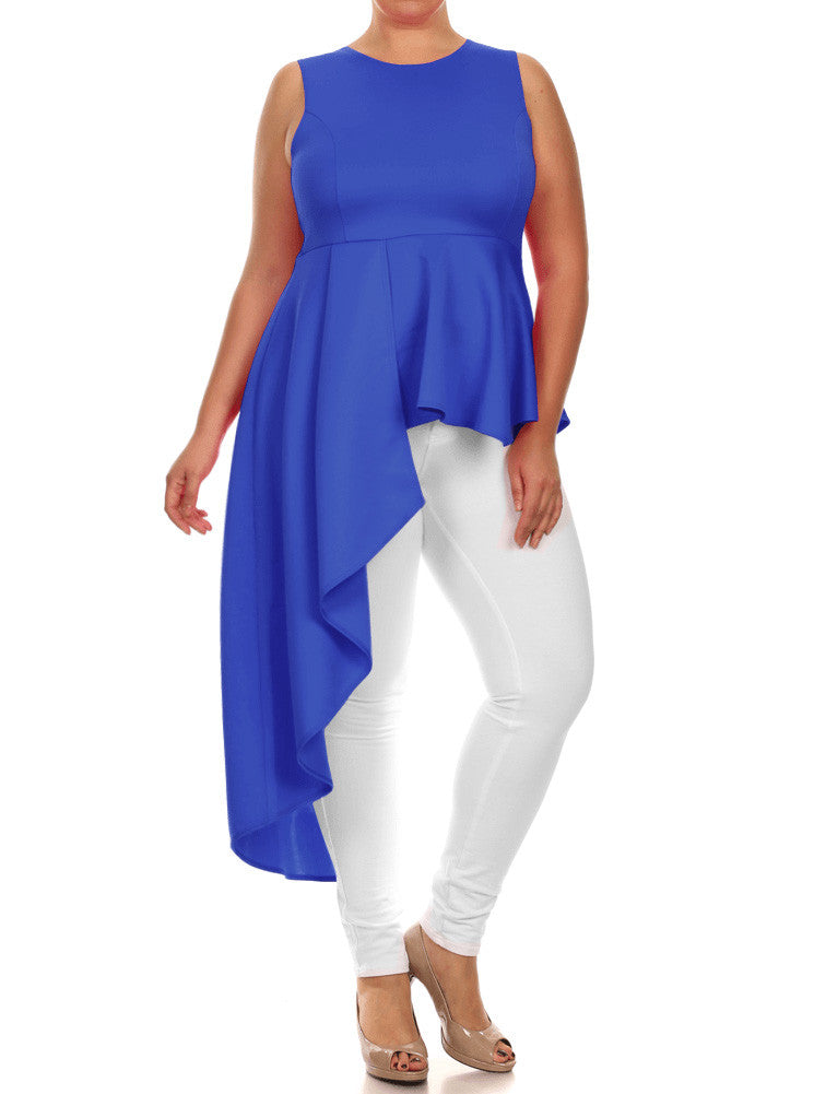 Plus Size Gala Asymmetrical Blue Maxi Shirt Dress