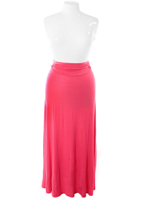 Plus Size Gorgeous Flowing Pink Maxi Skirt