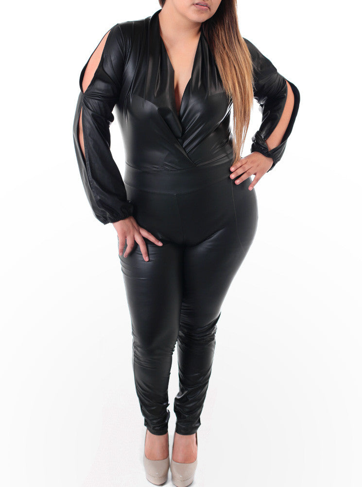 Plus Size Sexy Open Sleeves Black Jumpsuit