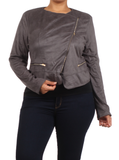 Plus Size Chic Side Zipper Grey Velour Jacket