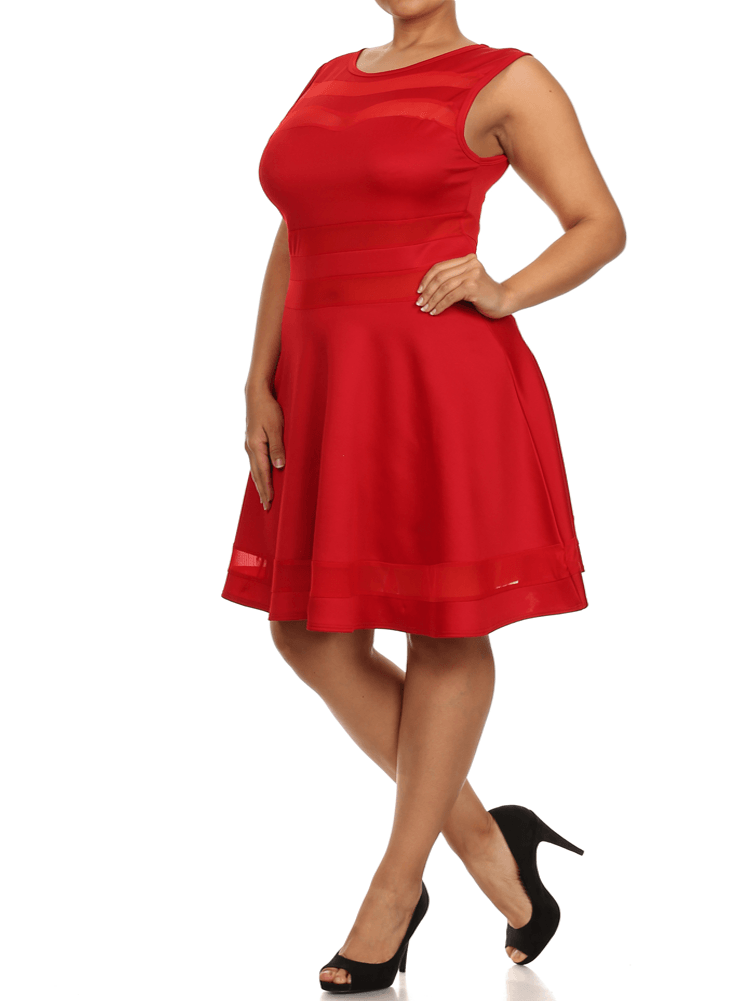 Plus Size Sweetheart Mesh Red Skater Dress