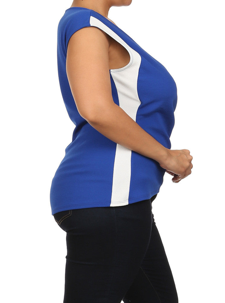 Plus Size Chic Colorblock Surplice Blue Top