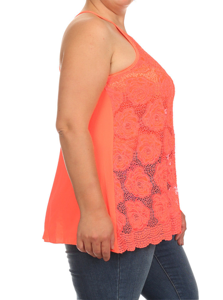 Plus Size See Through Flower Orange Tank