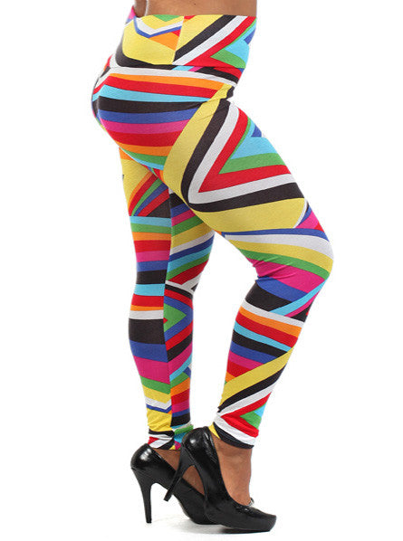 Plus Size Sexy Stripe Rainbow Leggings