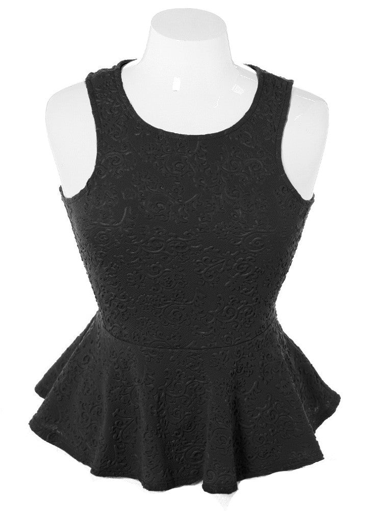 Plus Size Textured Victorian Peplum Black Top