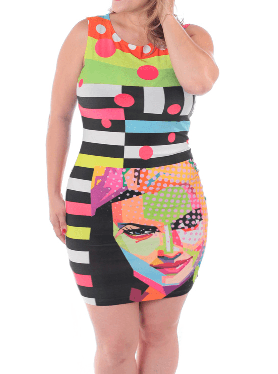 Plus Size Lively Digital Portrait Bodycon Dress