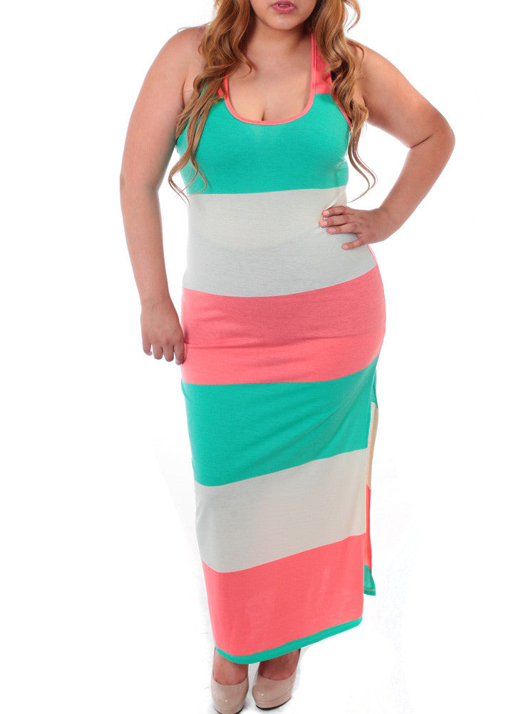 Plus Size Colorful Color Block Maxi Mint Dress