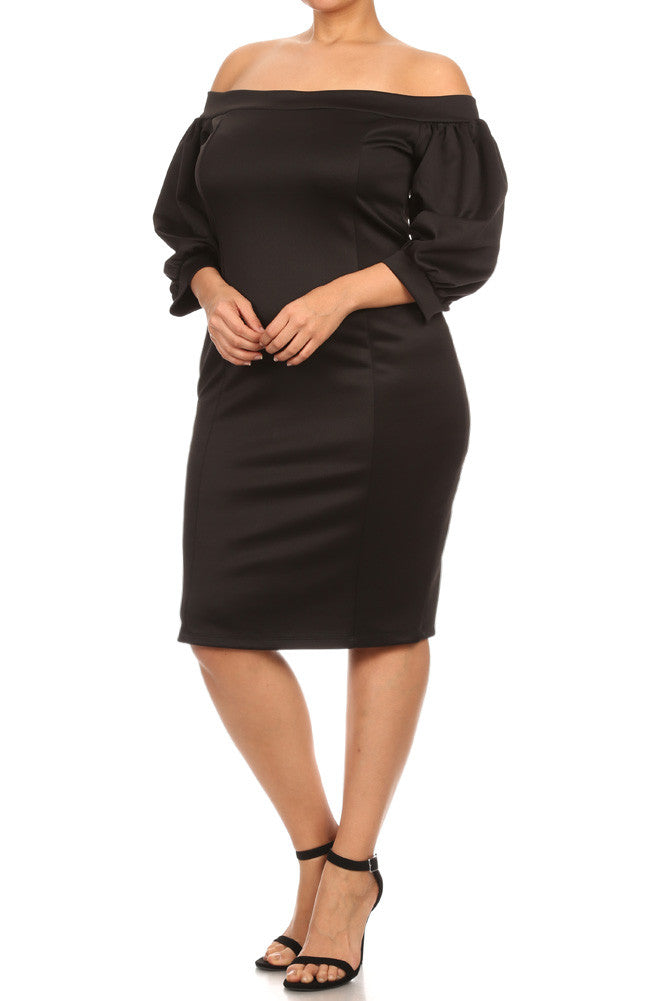 Plus Size Charming Off The Shoulder Ruffle Sleeves Dress