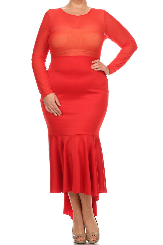 Plus Size For Love Mesh Fish Tail Maxi Dress