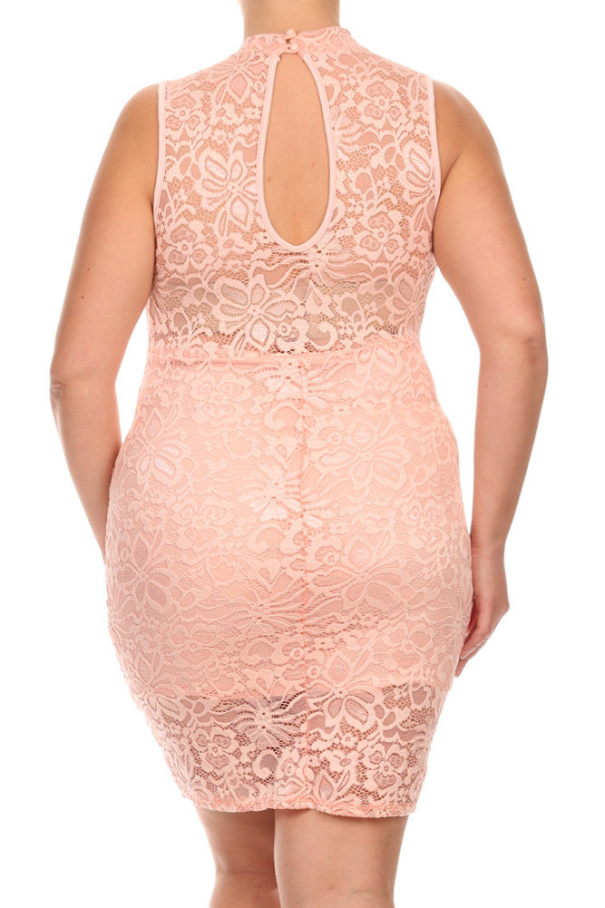 Plus Size Lovelace Keyhole Neckline Dress