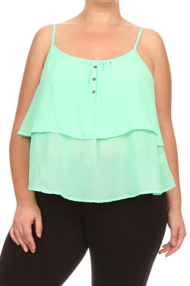 Plus Size Spring Love Layered Crochet Back Top