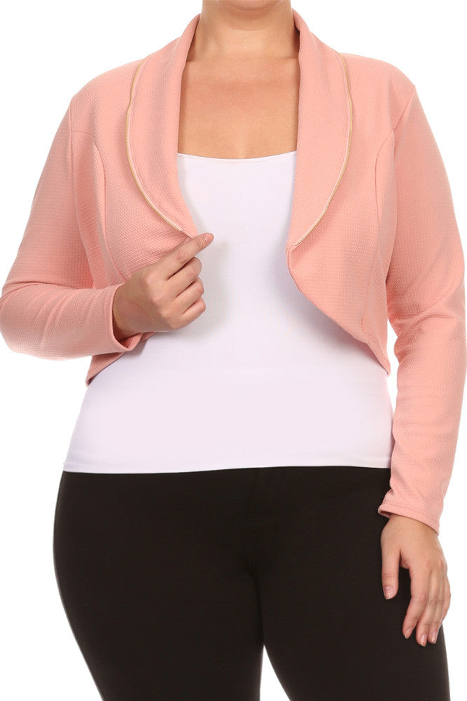 Plus Size Adorable Zip Up Blazer