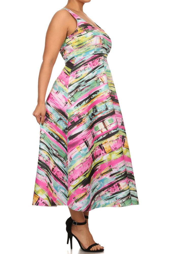 Plus Size Vibrant Spring A Line Maxi Dress