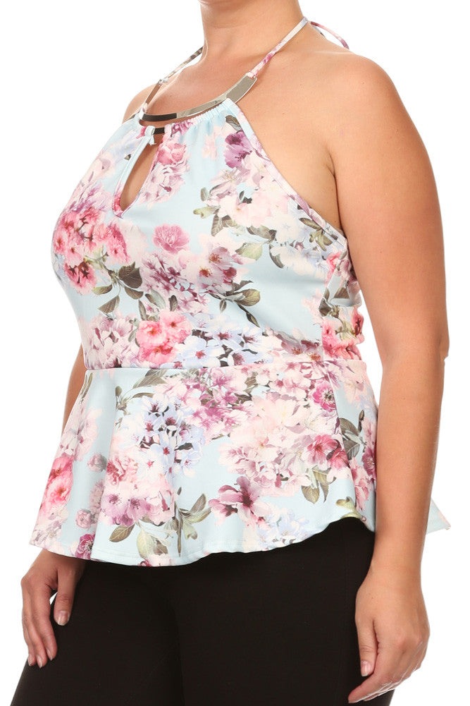 Plus Size Gold Neckline Blossoming Peplum Top
